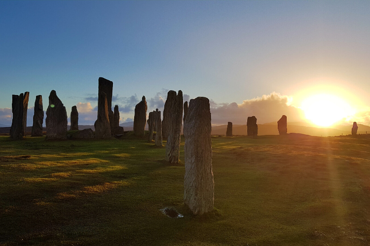 Hidden stone circle in the Outer Hebrides, Scotland